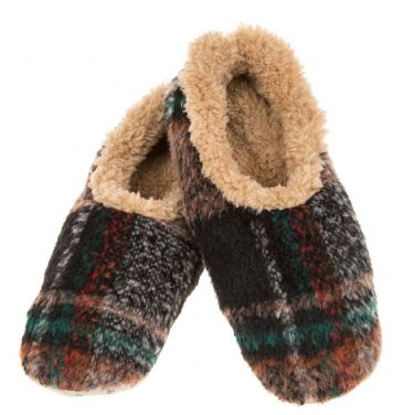 Mens Plaid Camel Brown Sherpa Fleece Soft Sole Snoozies Slippers ALMOST GONE